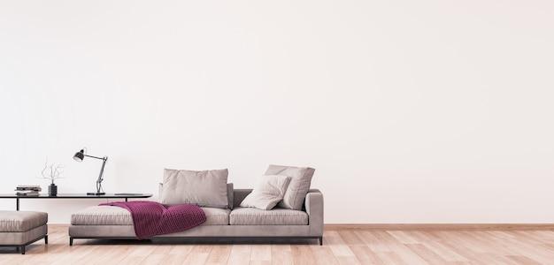 Design moderno del soggiorno, mobili minimali sul muro bianco, panorama