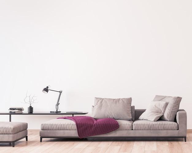 Design moderno del soggiorno, mobili minimali sul muro bianco