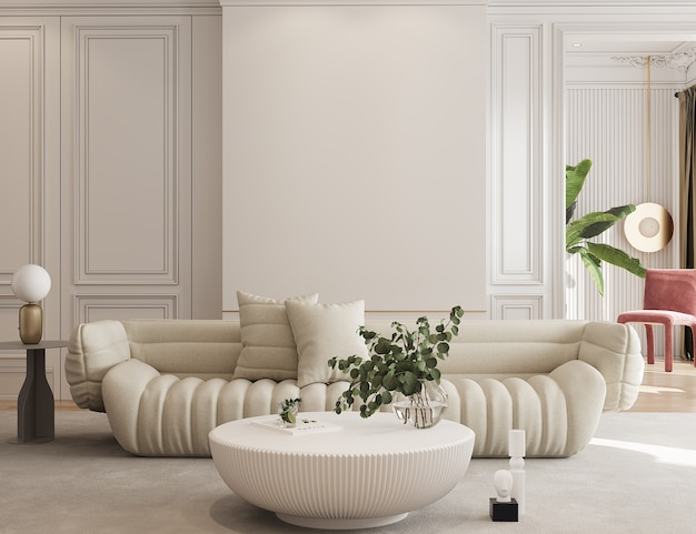 Design moderno soggiorno con divano 3d rendering mockup a parete