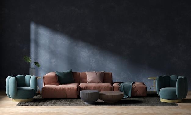 Soggiorno moderno e rendering 3d di interior design del fondo di struttura della parete blu vuota