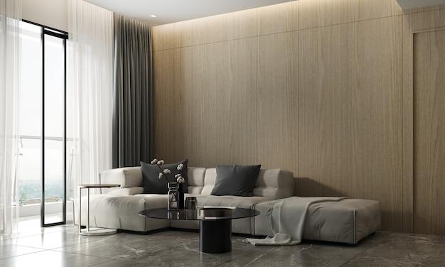 Soggiorno moderno e rendering 3d di interior design del fondo di struttura della parete di legno vuota