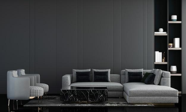 Interior design moderno del salone e decorazione bianca delle piante e del sofà e rappresentazione vuota del fondo della parete 3d