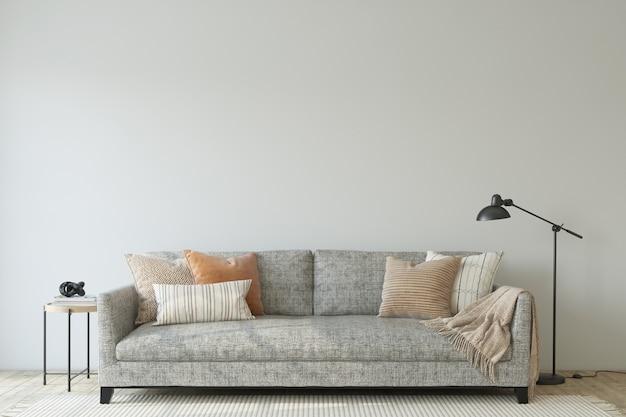 Interno moderno del salone. modello di interni. il divano grigio vicino al muro bianco vuoto. rendering 3d.