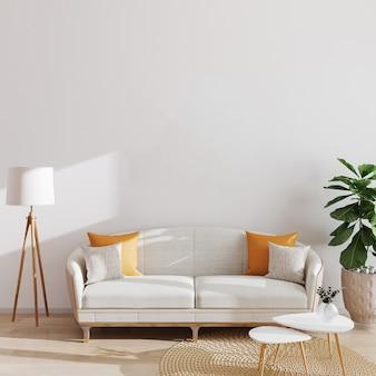Interno moderno del salone, stile scandinavo, illustrazione 3d. mockup di soggiorno.