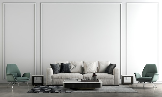 Moderna parete interna del soggiorno mock up in caldi neutri con divano verde moderna decorazione in stile accogliente su sfondo bianco vuoto della parete