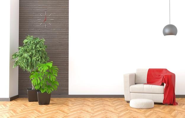Interiore moderno del salone con la parete bianca. illustrazione 3d