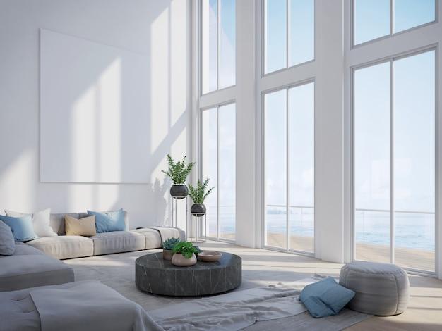 Soggiorno moderno in casa di lusso con vista mare
