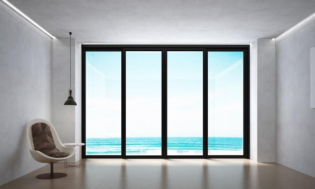 Il soggiorno moderno e la decorazione dei mobili simulati e lo sfondo del muro bianco e la vista sul mare