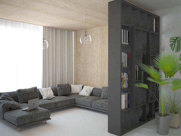Soggiorno moderno scandinavo con pannelli a parete in legno