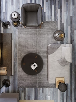 Vista dall'alto del soggiorno moderno, poltrona in pelle nera divano, due lampade da terra nere e caminetto. rendering 3d.