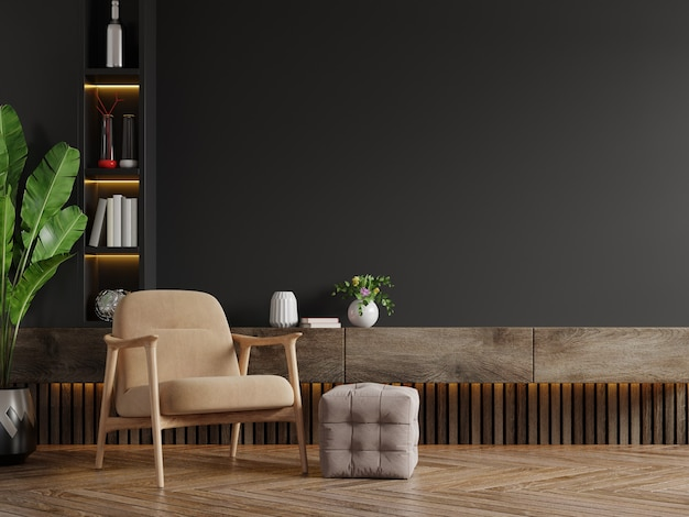Soggiorno moderno con poltrona, tavolo, fiori e piante sulla parete nera, rendering 3d