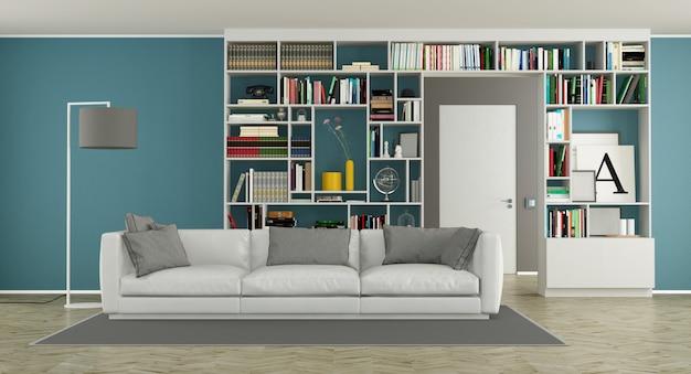 Soggiorno moderno con libreria