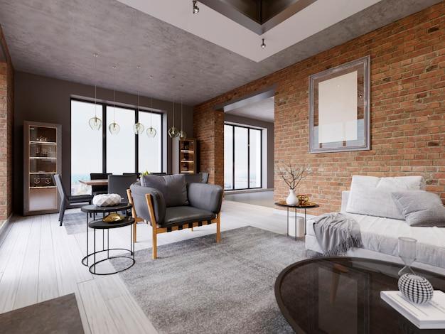Soggiorno moderno con zona pranzo e tavolo da pranzo in un appartamento in stile loft. rendering 3d