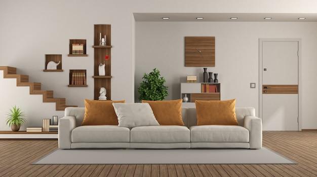 Soggiorno moderno con elegante divano e porta d'ingresso