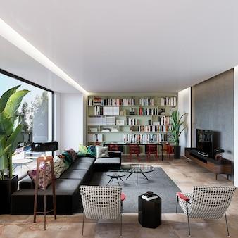 Soggiorno moderno con mobili e scaffale per libri sul pavimento in legno, rendering 3d