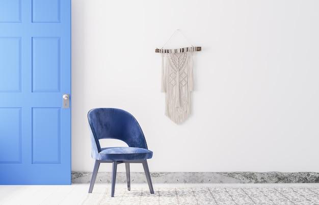 Soggiorno moderno con macramè sul muro bianco, interni dal design minimale