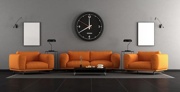 Soggiorno moderno con mobili arancioni