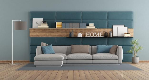 Soggiorno moderno con divano contro pannelli