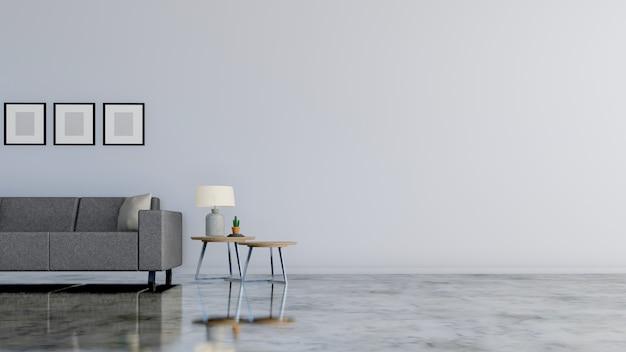 Soggiorno moderno con divano letto e lampada bianca, cornice per foto in camera bianca. rendering 3d
