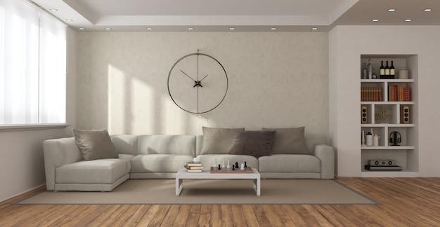 Soggiorno moderno con divano e libreria