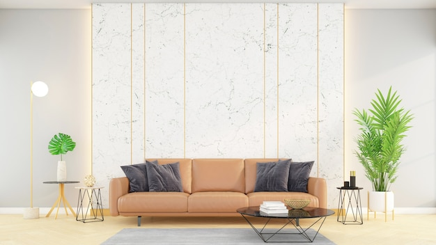 Soggiorno moderno con pareti in marmo bianco e divano in pelle arancione, rendering 3d.