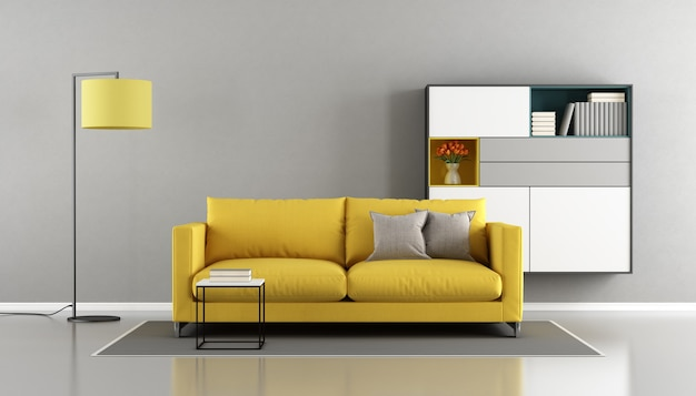 Soggiorno moderno con divano giallo e credenza a parete. rendering 3d