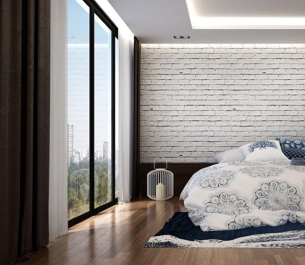 Parete di mattoni bianchi interni e vuoti della camera da letto moderna del soppalco
