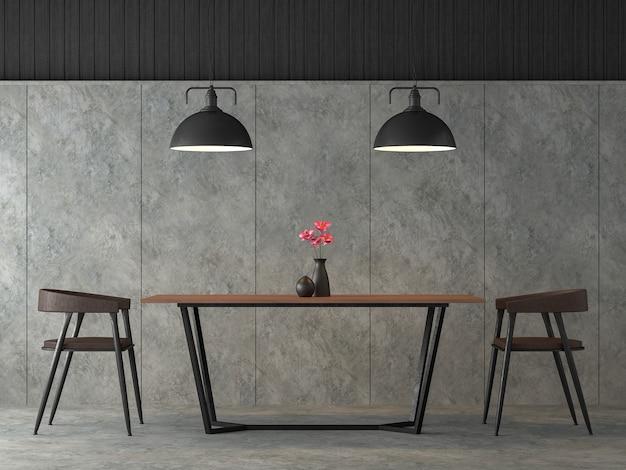 Moderna sala da pranzo loft 3d render arredata con mobili in acciaio e legno nero
