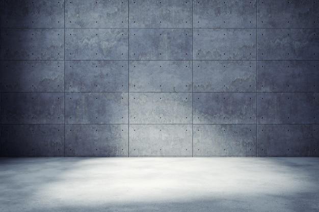 La stanza vuota interna del sottotetto moderno, il muro di cemento e la pavimentazione, il fondo e la struttura, 3d rendono