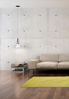 Interior design moderno del salone del loft e fondo di struttura del muro di cemento
