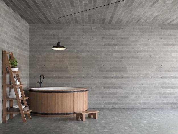 Il bagno moderno in stile loft 3d rende ci sono pavimenti in cemento decorati con vasca da bagno in legno