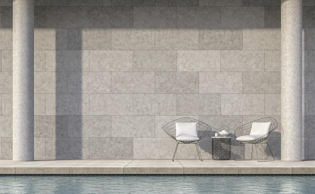 La moderna terrazza della piscina in stile loft 3d rende il pavimento e la parete in cemento lucidato