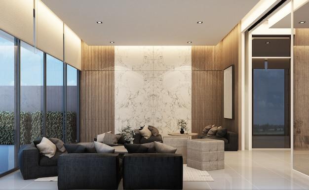 Design moderno del mainhall dell'area di attesa del loft con struttura in legno in appartamento o condominio rendering 3d Foto Premium
