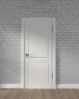 Porta bianca del granaio moderno e muro di mattoni bianco sul pavimento di legno. rendering 3d