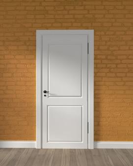 Porta bianca del granaio moderno e muro di mattoni giallo sul pavimento di legno. rendering 3d