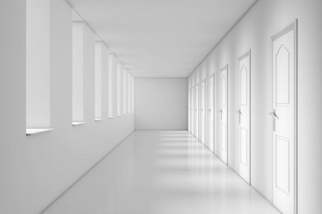 Primo piano estremo del corridoio lungo moderno dell'ufficio, della scuola, dell'hotel o dell'ospedale. rendering 3d