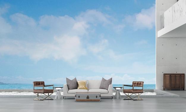 Salotto moderno e spazio di vita all'aperto e vista sul mare