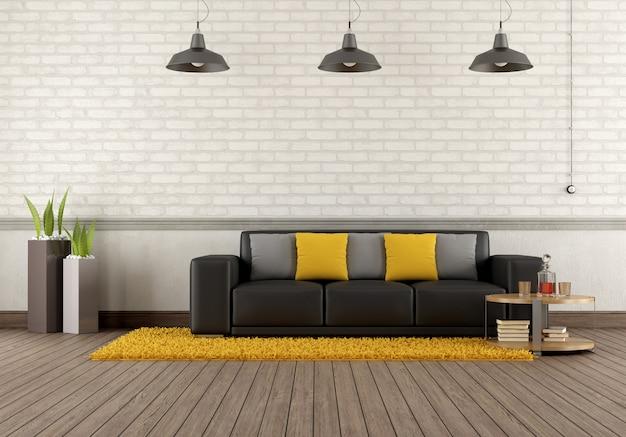 Salotto moderno con divano marrone