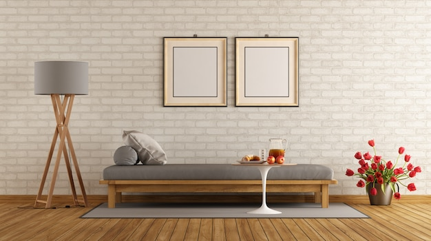 Salotto moderno con divano letto e lampada