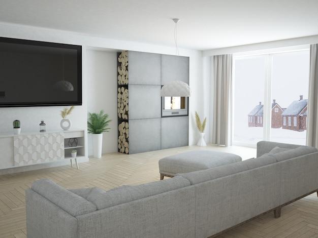 Moderno appartamento di lusso soggiorno con cucina