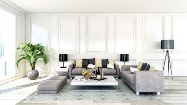 Interiore del salone appartamento moderno e di lusso con ampia finestra
