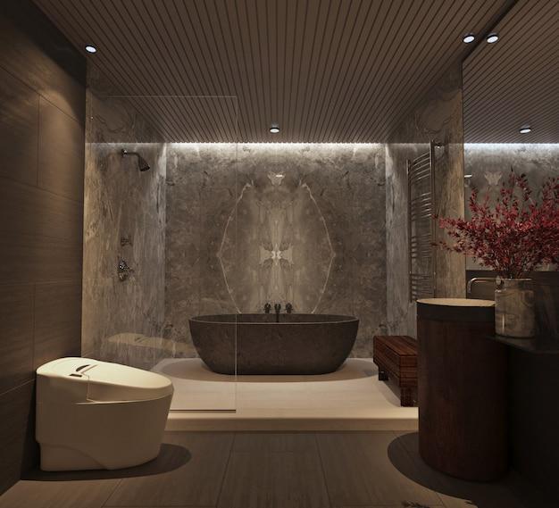Design del bagno moderno e di lusso con pareti in marmo e vasca