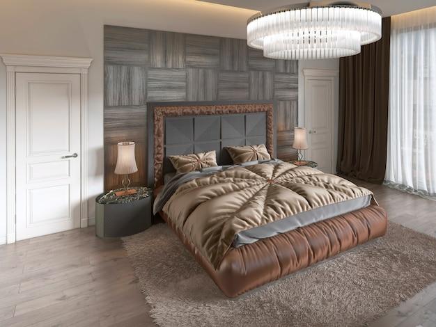 Letto moderno di lusso in stile art deco con trapunta e testiera in legno di parquet. camera da letto nei colori marroni. rappresentazione 3d.