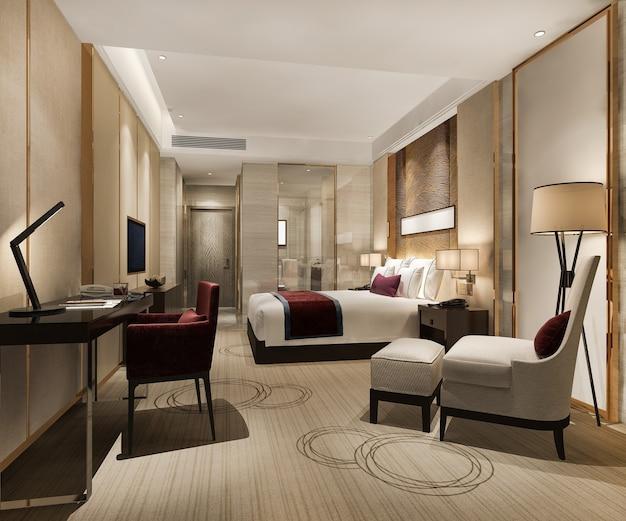 Suite e bagno moderni di lusso della camera da letto