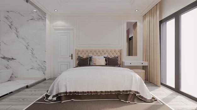 Camera da letto classica di lusso moderna con bagno trasparente accanto