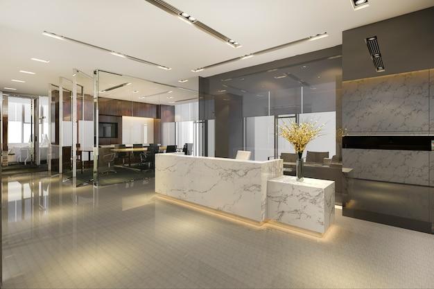 Moderno hotel di lusso e reception in ufficio e lounge con sedia per sala riunioni