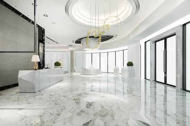 Hotel di lusso moderno e reception e lounge per uffici
