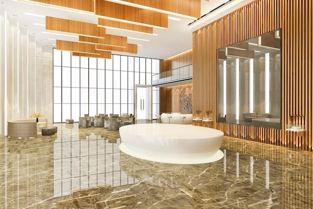 Hotel di lusso moderno e reception e sala riunioni per uffici