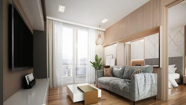Interior design di lusso moderno del salone e della camera da letto dell'attico
