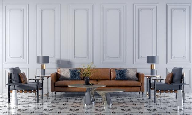 Soggiorno di lusso moderno e rendering 3d di interior design del fondo di struttura della parete bianca